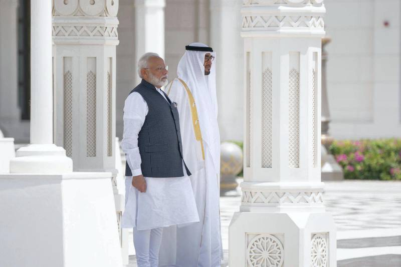 Mohamed bin Zayed receives Indian Prime Minister Narendra Modi at Qasr Al Watan, where he was accorded an official reception. From MBZ's twitter