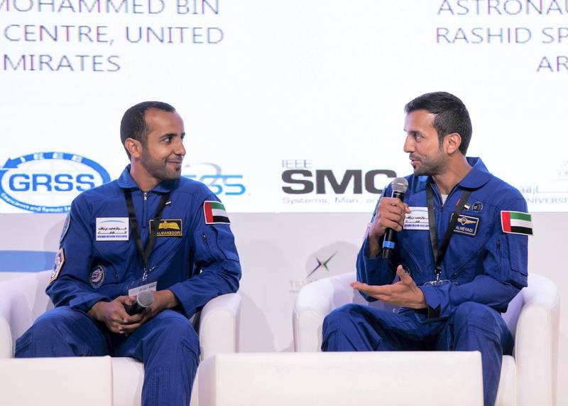 DUBAI, UNITED ARAB EMIRATES. 4 NOVEMBER 2019. UAE astronaut Hazzaa Al Mansoori, left, and Sultan Al Neyadi, at the Young Professionals in Space conference.(Photo: Reem Mohammed/The National)Reporter:Section: