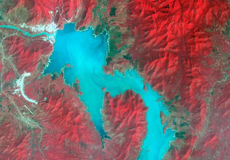 The Blue Nile River is seen as the Grand Ethiopian Renaissance Dam reservoir fills near the Ethiopia-Sudan border, in this broad spectral image taken November 6, 2020. NASA/METI/AIST/Japan Space Systems, and U.S./Japan ASTER Science Team/Handout via REUTERS THIS IMAGE HAS BEEN SUPPLIED BY A THIRD PARTY