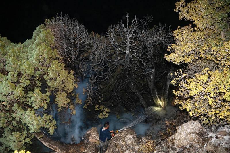 A volunteer works to extinguish a fire Jird Meshmesh, in Lebanon's Akkar region on Aug. 24, 2020