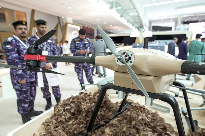 Abu Dhabi, United Arab Emirates, February 24, 2020.  The Unmanned Systems Exhibition and Conference (UMEX 2020) and Simulation Exhibition and Conference (SimTEX 2020).--  Visitors from the Military check out the CEST MR40 UAV System.Victor Besa / The NationalSection:  NAReporter:  None