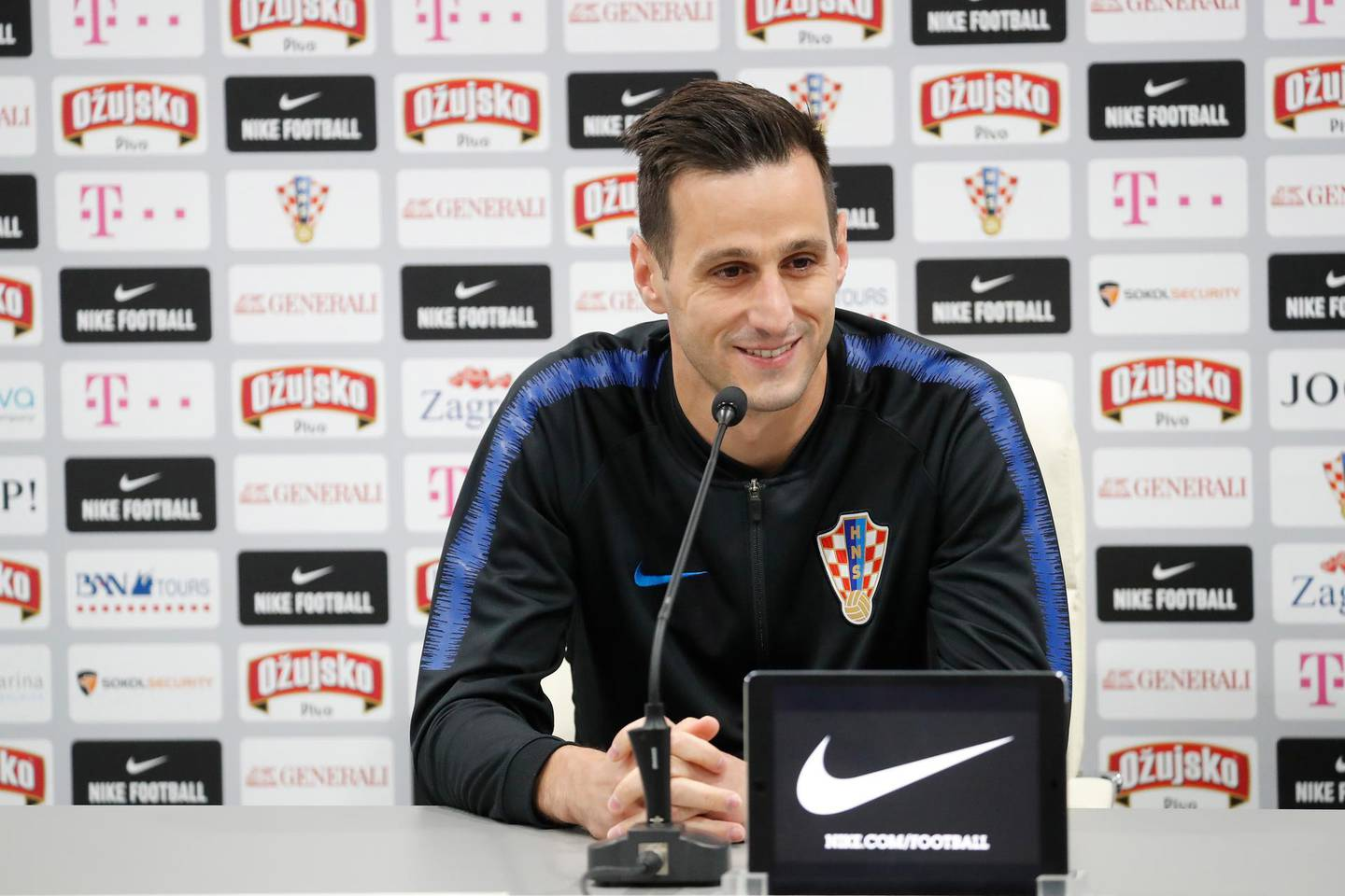 epa06805049 Croatia's Nikola Kalinic attends a press conference of the Croatian national soccer team at the Roschino Arena, outside St. Petersburg, Russia, 13 June 2018. Croatia prepares for the FIFA World Cup 2018, that will take place in Russia from 14 June to 15 July 2018.  EPA/ANATOLY MALTSEV