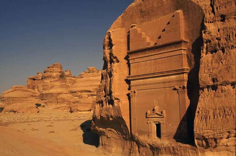 Nabatean rock-cut tombs at Madain Saleh, near Al-Ula, Saudi Arabia. Amar Grover for the National. for travel story saudi
