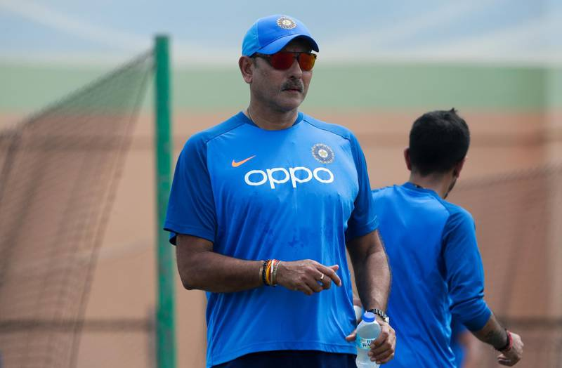 India cricket coach Ravi Shastri attends a net batting session ahead of a first One Day International cricket match against West Indies in Providence, Guyana, Wednesday, Aug. 7, 2019. (AP Photo/Arnulfo Franco)