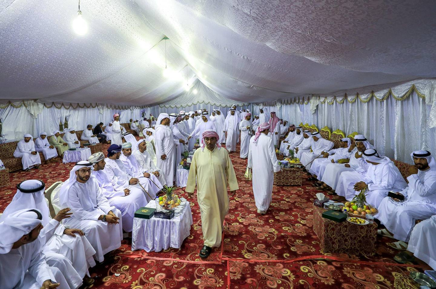 Abu Dhabi, U.A.E., October 3, 2018. Mourners at the tent of the Katheri family come in batches in order that there will be enough space for all.Victor Besa/ The NationalSection:  NAReporter:  Ana Zacharias