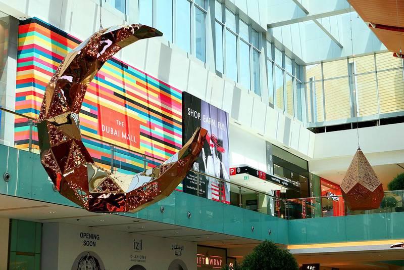 Ramadan decoration at Dubai Mall in Dubai on April 22, 2021. Pawan Singh / The National. Story by Katy Gillet