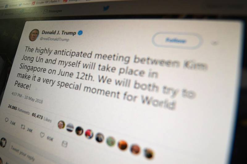 """(FILES) In this file photo taken on May 10, 2018 a screen grab shows a message tweeted by US President Donald Trump as he announced his historic summit with North Korean leader Kim Jong Un will take place in Singapore on June 12. """"We will both try to make it a very special moment for World Peace!"""" Trump said in a tweeted announcement. President Donald Trump violated the US constitution by blocking Twitter users who disagree with him, a federal judge ruled on May 23, 2018 in a case closely watched for implications for online free speech. Judge Naomi Reice Buchwald said the blocking of Trump critics -- which prevent them from seeing and interacting with the president's tweets -- violated the free speech rights of those users guaranteed in the constitution's First Amendment.  / AFP / Eric BARADAT"""
