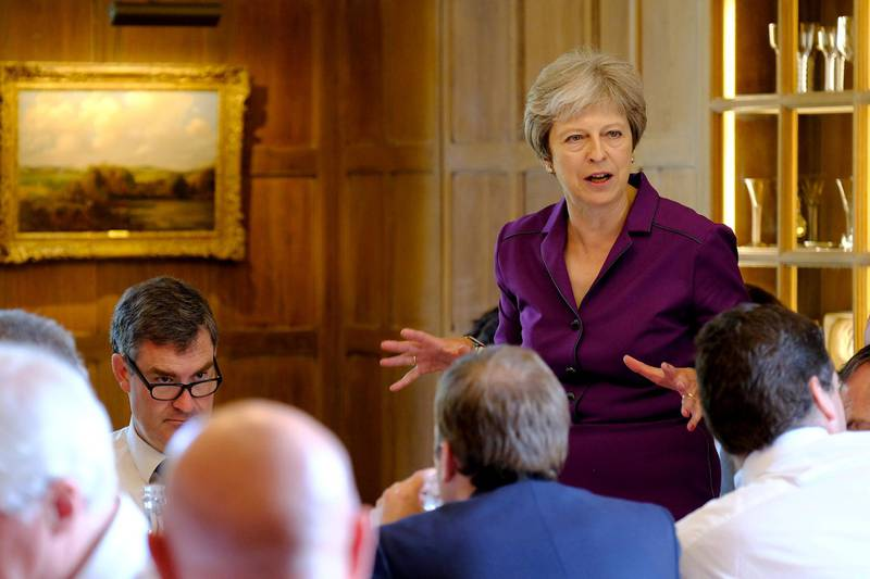 Britain's Prime Minister Theresa May commences a meeting with her cabinet to discuss the government's Brexit plans at Chequers, the Prime Minister's official country residence, near Aylesbury, Britain, July 6, 2018. Joel Rouse/MOD/Handout via REUTERS  -  ATTENTION EDITORS  -  THIS IMAGE WAS SUPPLIED BY A THIRD PARTY. NO RESALES. NO ARCHIVES.
