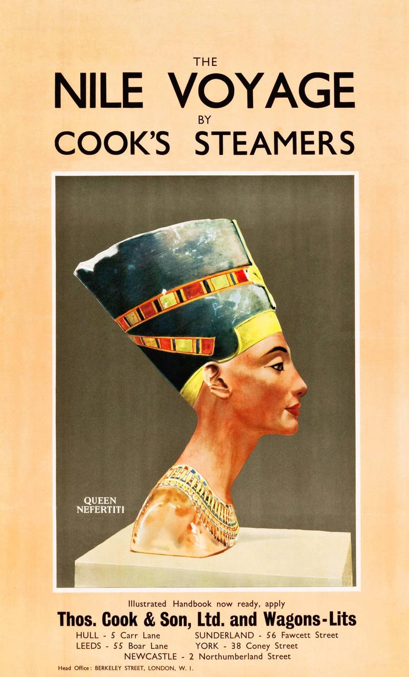 Poster (produced by the Thomas Cook & Son and Wagons-Lits travel agencies) promotes travel along the Nile River, accompanied by an image of a bust of Queen Nefertiti, 1930. (Photo by Buyenlarge/Getty Images)