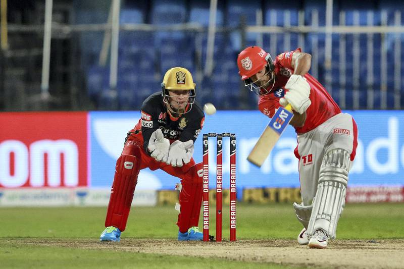 Mayank Agarwal of Kings XI Punjab  plays a shot during match 31 of season 13 of the Indian Premier League (IPL ) between the Royal Challengers Bangalore and the Kings XI Punjab held at the Sharjah Cricket Stadium, Sharjah in the United Arab Emirates on the 15th October 2020.  Photo by: Rahul Gulati  / Sportzpics for BCCI