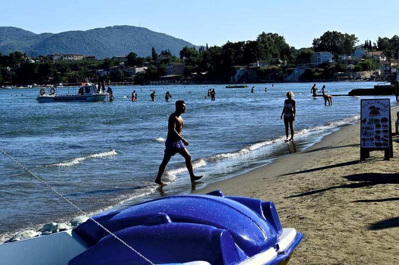 ZAKYNTHOS, GREECE - JULY 15: Tourists on beach on Zakythos Island.Tourist mainly from United Kingdom and Italy are guest on Zakinthos Island on July 15, 2020 in Zakynthos, Greece. (Photo by Milos Bicanski/Getty Images)