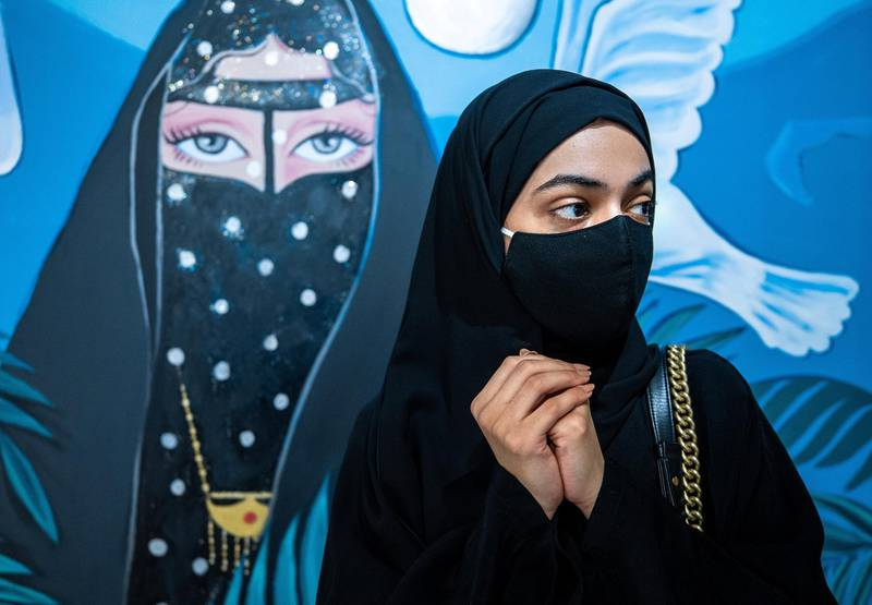 Abu Dhabi, United Arab Emirates, April 4, 2021.   A preview or first look at three new exhibitions at the Cultural Foundation. Murals of History.  The Arabian movement through the eyes of the artists exhibition.  Rafeea Abdulla Al Khyeli, Under the Moon, 2021, Mixed Media.Victor Besa/The NationalSection:  ACReporter:  Alexandra Chaves