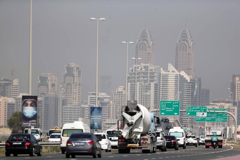 Dubai, United Arab Emirates - Reporter: N/A: Coronavirus/Covid-19. People movement. A very busy Hessa Street heading towards Sheikh Zayed Road. Tuesday, May 5th, 2020. Dubai. Chris Whiteoak / The National