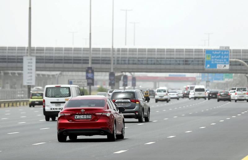 Dubai, United Arab Emirates - May 20, 2019: Traffic on Sheikh Zayed Road. Monday the 20th of May 2019. Sheikh Zayed Road, Dubai. Chris Whiteoak / The National