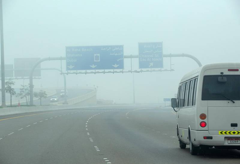 Foggy weather along the E10 overpass area in Abu Dhabi on June 4th, 2021. Victor Besa / The National.