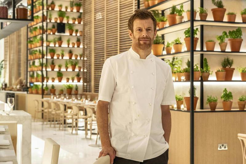 ABU DHABI, UNITED ARAB EMIRATES. 31 OCTOBER 2018. Michelin Star Chef Tom Aikens at Market At Edition in the new Edition hotel in Al Bateen. (Photo: Antonie Robertson/The National) Journalist: Melinda Healy. Section: Weekend.