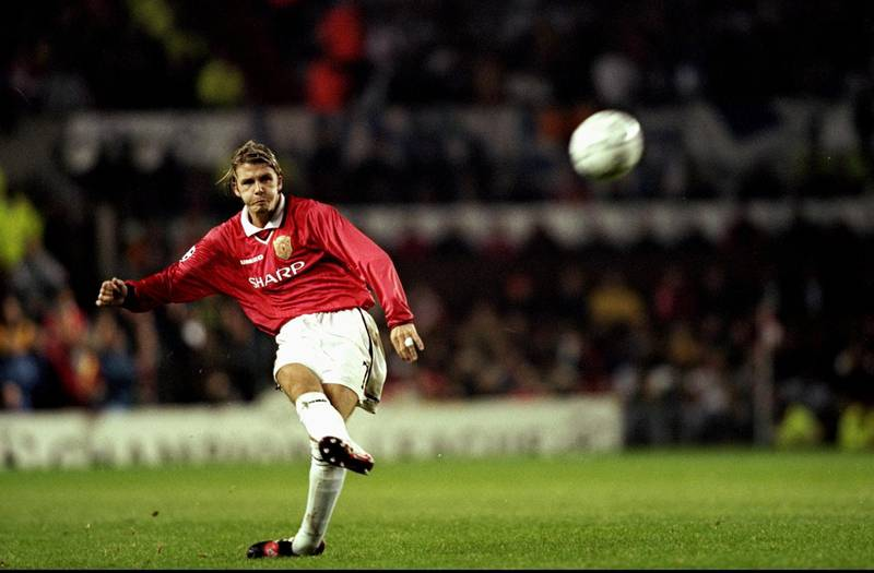 29 Sep 1999:  David Beckham of Manchester Utd in action during the UEFA Champions League Group D match between Manchester United and Olympique Marseille played at Old Trafford, Manchester, England. The game finished in a 2-1 win for European Cup holdersManchester United. \ Mandatory Credit: Michael Steele /Allsport