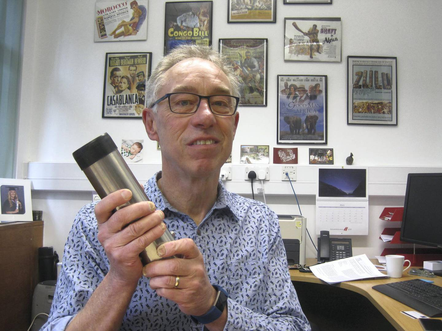 Professor David Thomas in his office at the University of Oxford with one of the containers used to collect sand samples. Courtsey: Daniel Bardsley