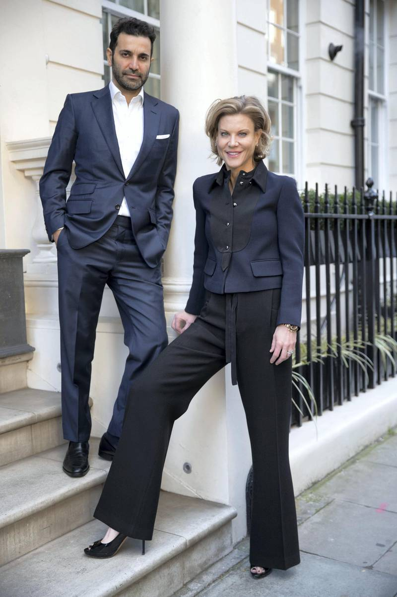 LONDON. 19th January 2018. Amanda Staveley and Mehradad Ghodoussi outside their home in London. Stephen Lock for the National