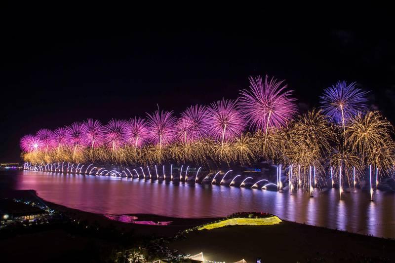 Ras Al Khaimah, United Arab Emirates: Fireworks at Waldorf Astoria, Al Hamra Island, RAK.  Leslie Pableo for The National