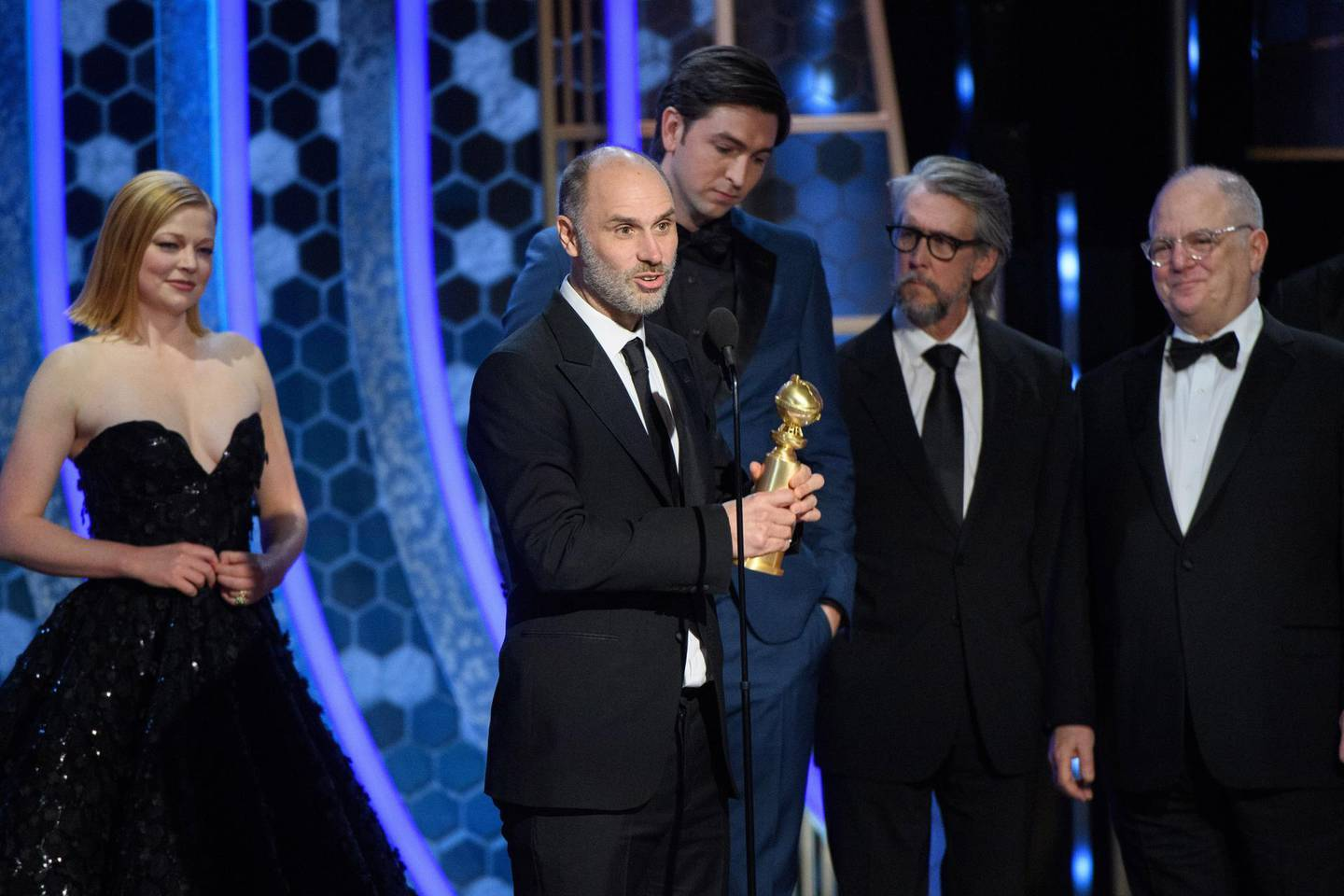 epa08106173 A handout photo made available by the Hollywood Foreign Press Association (HFPA) shows Jesse Armstrong (2-L) accepting the Golden Globe Award for Best Television Series - Drama for Succession during the 77th annual Golden Globe Awards ceremony at the Beverly Hilton Hotel, in Beverly Hills, California, USA, 05 January 2020.  EPA/HFPA / HANDOUT ATTENTION EDITORS: IMAGE MAY ONLY BE USED UNALTERED, ONE TIME USE ONLY WITHIN 60 DAYS MANDATORY CREDIT HANDOUT EDITORIAL USE ONLY/NO SALES