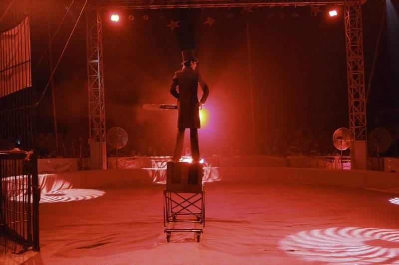 United Arab Emirates - Abu Dhabi - April 13 - 2010 : Russian magician Pavel perform at the European-Egyptian-Russian Circus at the Community Market in Khalifa Park.( Jaime Puebla / The National )