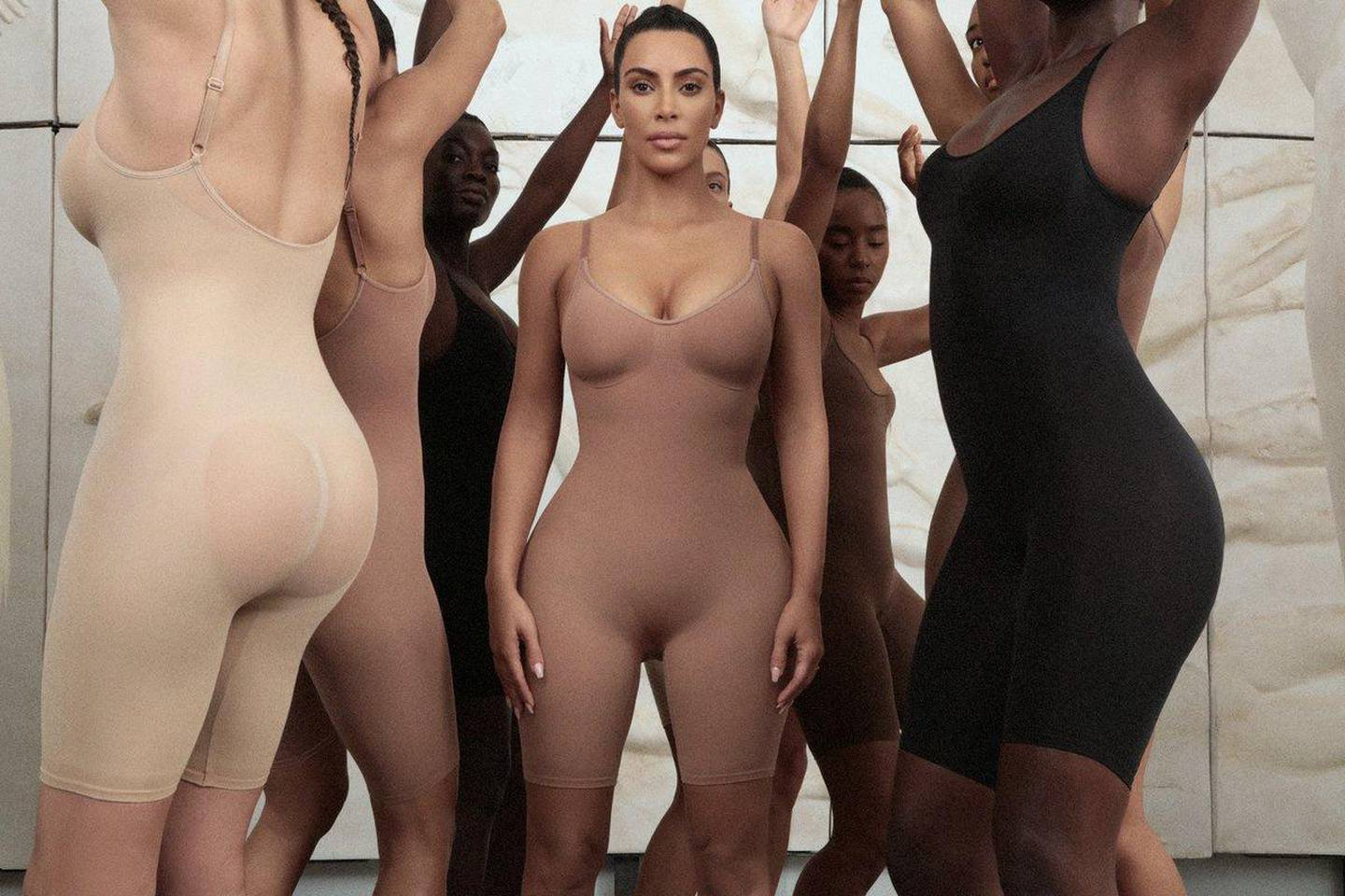 An undated image obtained on social media on June 27, 2019 shows models including Kim Kardashian dressed in bodysuits from her new clothing line called Kimono in an undisclosed location. Vanessa Beecroft via REUTERS  THIS IMAGE HAS BEEN SUPPLIED BY A THIRD PARTY. NO RESALES. NO ARCHIVES. MANDATORY CREDIT