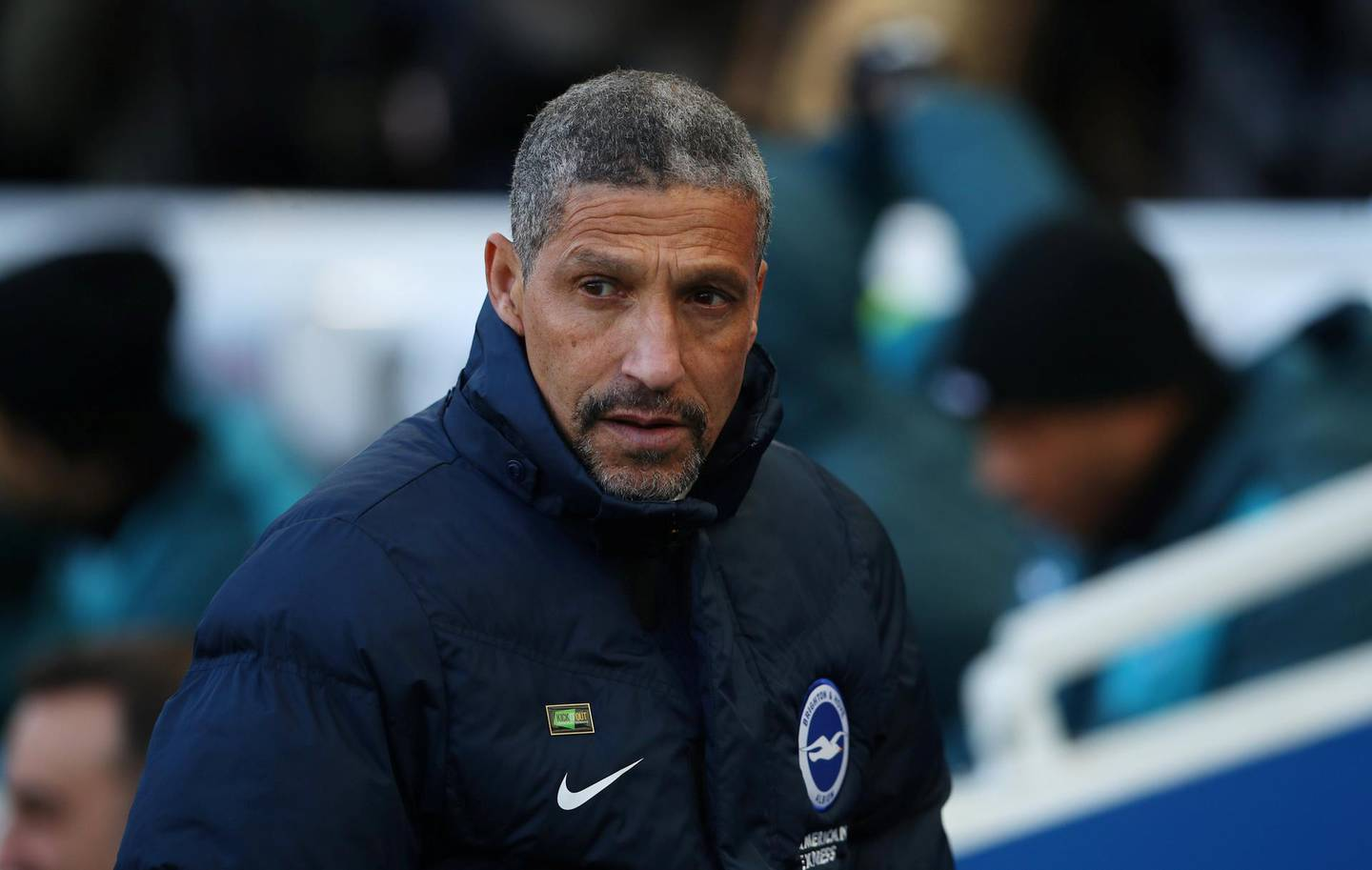 """Soccer Football - Premier League - Brighton & Hove Albion vs Swansea City - The American Express Community Stadium, Brighton, Britain - February 24, 2018   Brighton manager Chris Hughton before the match   REUTERS/Hannah McKay    EDITORIAL USE ONLY. No use with unauthorized audio, video, data, fixture lists, club/league logos or """"live"""" services. Online in-match use limited to 75 images, no video emulation. No use in betting, games or single club/league/player publications.  Please contact your account representative for further details."""