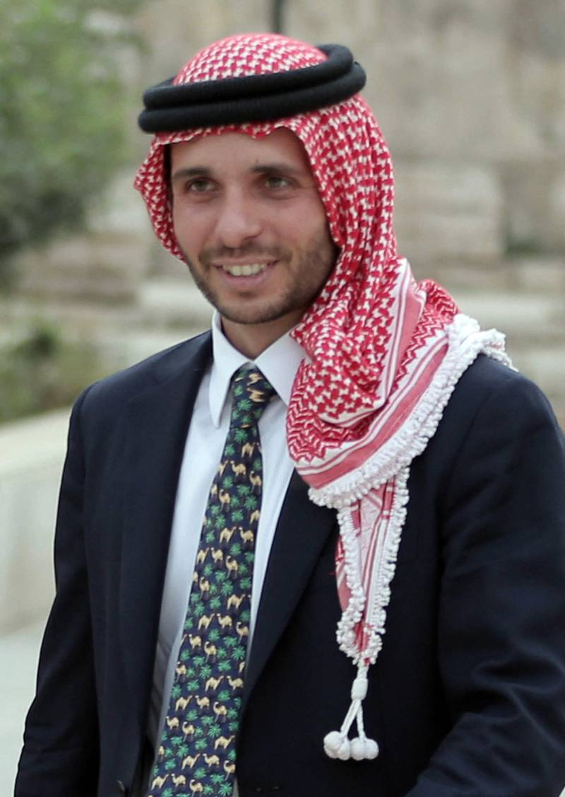 Jordan's Prince Hamzah Bin Al-Hussein attends a press event in Amman where Prince Ali announced his bid to succeed FIFA president Joseph Blatter on September 9, 2015. Prince Ali, 39, is a former FIFA vice president who led an unsuccessful challenge as a reform candidate against Blatter for the top job in May, just two days after the arrest of seven FIFA officials in Zurich. AFP PHOTO / KHALIL MAZRAAWI (Photo by KHALIL MAZRAAWI / AFP)