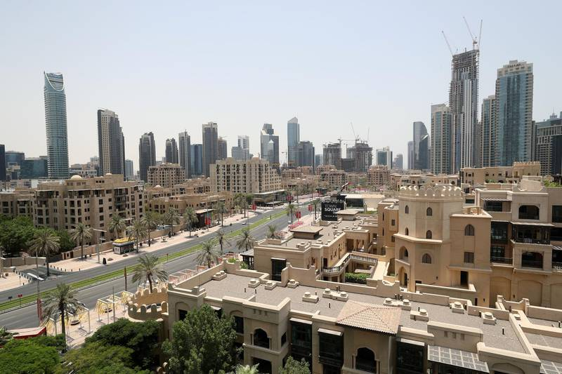 Dubai, United Arab Emirates - July 24, 2018: The view from an executive suite. First look at the re-opened Address Downtown Dubai. Tuesday, July 24th, 2018 at The Address Downtown, Dubai. Chris Whiteoak / The National