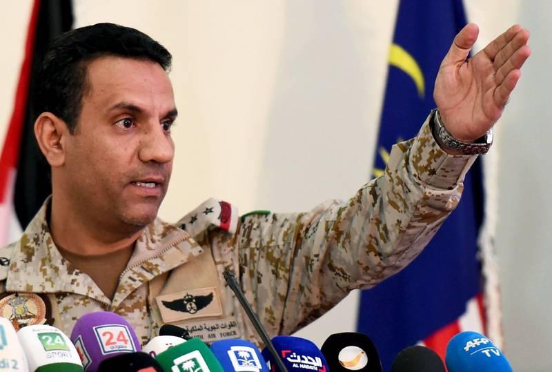 Saudi led coalition spokesman Turki Al-Malki gives a press conference at the King Salman Airbase in Riyadh on November 5, 2017.  / AFP PHOTO / FAYEZ NURELDINE