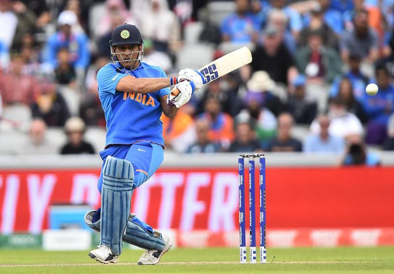 MANCHESTER, ENGLAND - JULY 10:  MS Dhoni of India bats during resumption of the Semi-Final match of the ICC Cricket World Cup 2019 between India and New Zealand after weather affected play at Old Trafford on July 10, 2019 in Manchester, England. (Photo by Nathan Stirk/Getty Images)