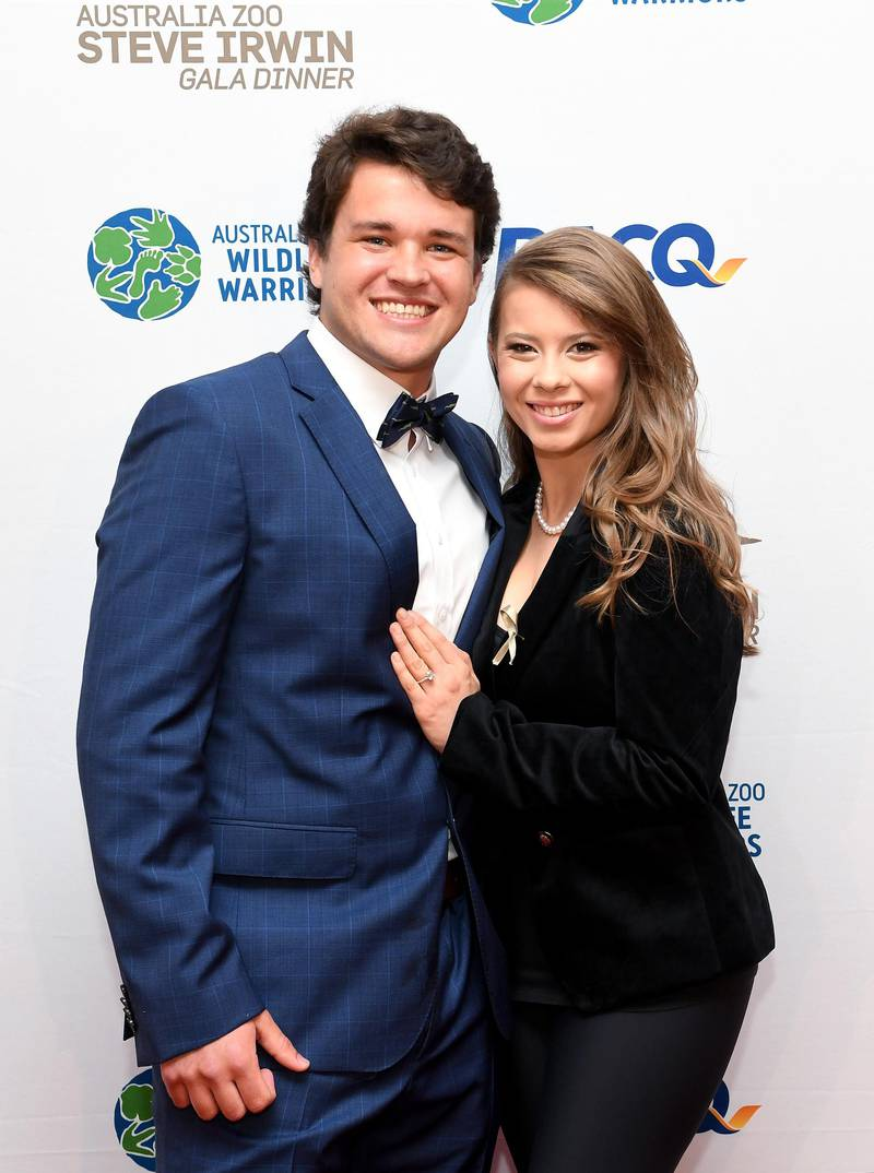 BRISBANE, AUSTRALIA - NOVEMBER 09: Bindi Irwin poses for a photo with fiance Chandler Powell at the annual Steve Irwin Gala Dinner at Brisbane Convention & Exhibition Centre on November 09, 2019 in Brisbane, Australia. (Photo by Bradley Kanaris/Getty Images)