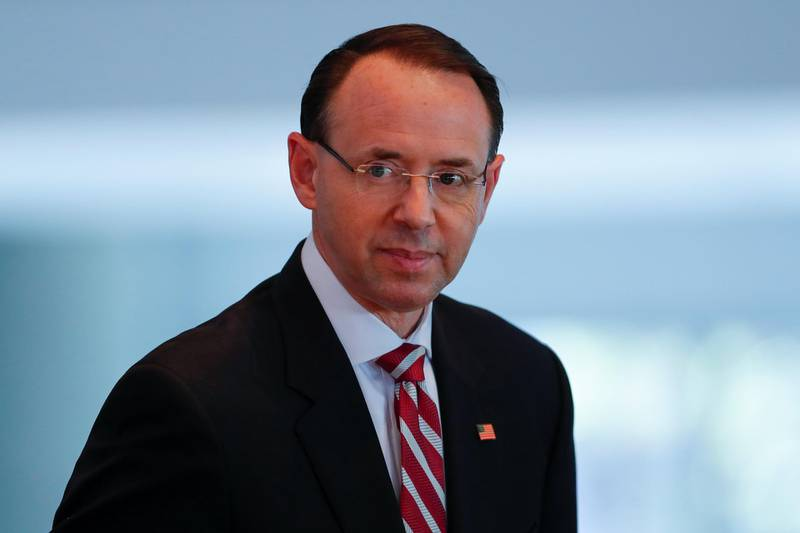 U.S. Deputy Attorney General Rod J. Rosenstein attends the Los Angeles Crimefighters Leadership Conference in Los Angeles, California, U.S., February 7, 2019. REUTERS/Mike Blake