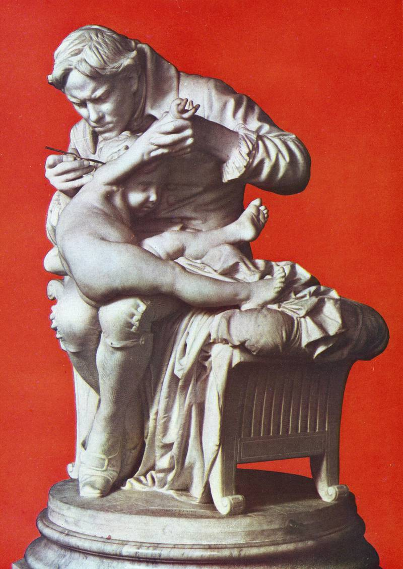 UNSPECIFIED - CIRCA 1754: Edward Jenner (1749-1823) English physician, vaccinating his son, (c1796). Jenner by 1796 had proved that serum from Cowpox would protect from smallpox. After sculpture in bronze by Giulio Monteverde (1837-1917). (Photo by Universal History Archive/Getty Images)