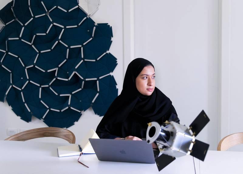 DUBAI, UNITED ARAB EMIRATES.  29 NOVEMBER 2020. Hind Bin Jarsh AlFalasi, the designer of UAE's moon mission logo, at her office in Mohammed Bin Rashid Space Centre.(Photo: Reem Mohammed/The National)Reporter:Section: