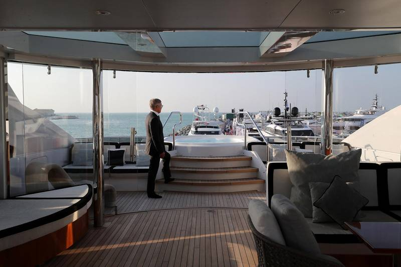 DUBAI , UNITED ARAB EMIRATES , February 26 – 2019 :- Dr. Rainer Behne , Chairman of Behnemar Global , a marine services company at the Rocket Yacht which is on display at the Dubai International Boat Show held in Dubai. ( Pawan Singh / The National ) For Lifestyle. Story by Sophie