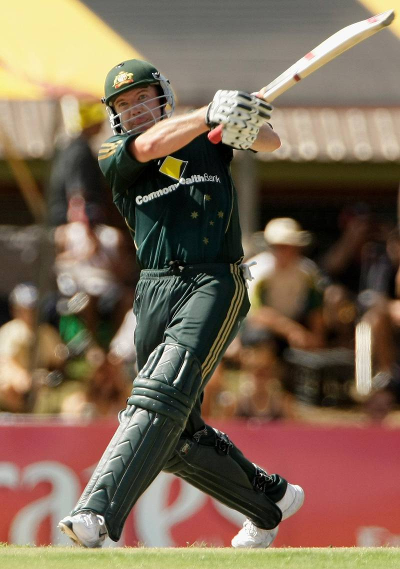 DARWIN, AUSTRALIA - AUGUST 30: James Hopes of Australia hits out during the first one day international match between Australia and Bangladesh held at TIO Stadium August 30, 2008 in Darwin, Australia.  (Photo by Robert Cianflone/Getty Images)