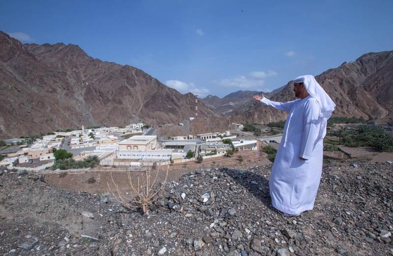 Sharjah, United Arab Emirates-  Abdullah Khilfan Al Naqbi showing the small village at Al Nahwa Village in Sharjah.  Leslie Pableo for The National for Ruba Haza