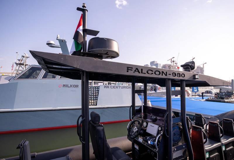 Abu Dhabi, United Arab Emirates, February 23, 2021.  Idex 2021 Day 3.Aksum Marine at NAVDEX.The Falcon 980.Victor Besa / The NationalSection:  NAReporter: