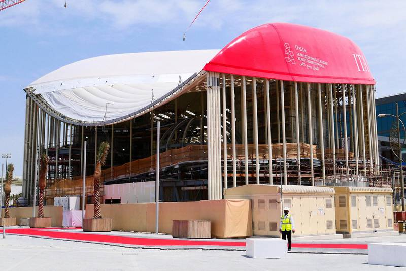 View of the Italy pavilion at EXPO 2020 site in Dubai on April 27,2021.  (Pawan Singh/The National) Story by Ramola