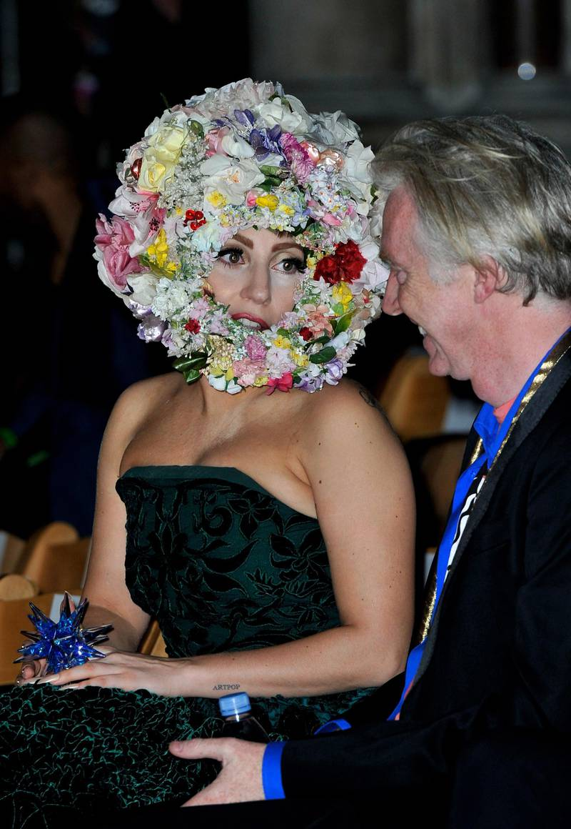 LONDON, ENGLAND - SEPTEMBER 16:  Lady Gaga attends the front row for the Philip Treacy show on day 3 of London Fashion Week Spring/Summer 2013, at The Royal Courts Of Justice on September 16, 2012 in London, England.  (Photo by Gareth Cattermole/Getty Images)