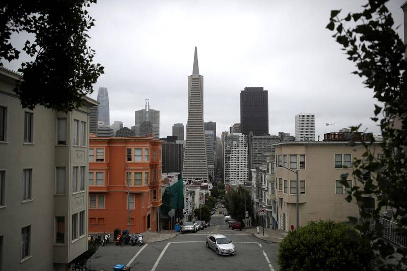 SAN FRANCISCO, CALIFORNIA - AUGUST 19: A view of the Transamerica Pyramid building on August 19, 2019 in San Francisco, California. San Francisco's iconic Transamerica Pyramid building is up for sale for the first time since its completion in 1972. The building located at 600 Montgomery is estimated to sell for $600 million and will include 2 other buildings at 505 Sansome Street and 545 Sansome Street for a total of 760,000 square feet of office space.   Justin Sullivan/Getty Images/AFP (Photo by JUSTIN SULLIVAN / GETTY IMAGES NORTH AMERICA / Getty Images via AFP)