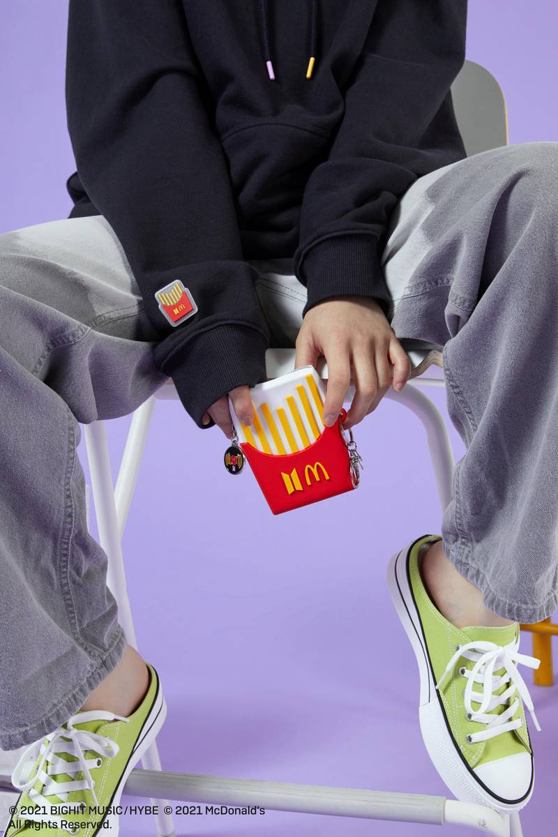 To celebrate the launch of BTS's McDonald's menu items, they are dropping a line of merchandise. Courtesy McDonalds. Credit: Courtesy McDonalds