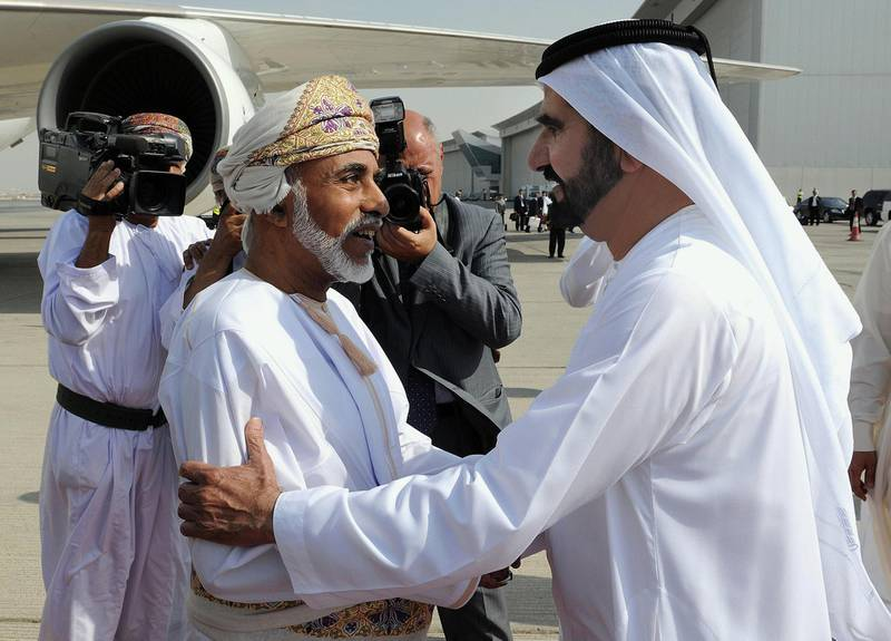 """A picture provided by the official Emirates news agency WAM shows Sheikh Mohammed bin Rashid al-Maktoum, Vice President and Prime Minister of the UAE and ruler of Dubai (R) welcoming Omani Sultan Qaboos bin Said (L) upon latter's arrival at Dubai airport on October 22, 2012. AFP PHOTO/HO/WAM   +++   RESTRICTED TO EDITORIAL USE - MANDATORY CREDIT """"AFP PHOTO / HO / WAM"""" - RESTRICTED TO EDITORIAL USE - MANDATORY CREDIT """"AFP PHOTO / HO / WAM"""" - NO MARKETING NO ADVERTISING CAMPAIGNS - DISTRIBUTED AS A SERVICE TO CLIENTS   +++ (Photo by - / WAM / AFP)"""