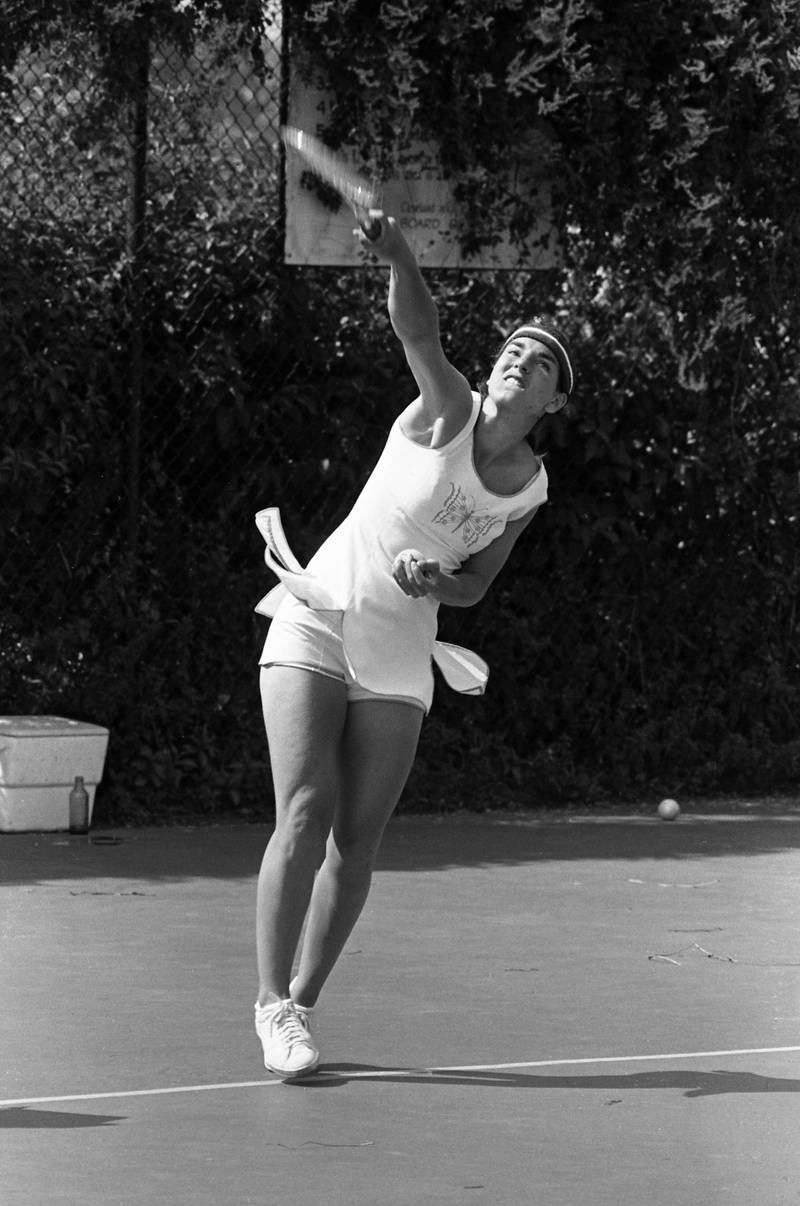 Julie Heldman of United States practices her serves for the 43rd Wightman Cup matches against Great Britain.  The tournament takes place at the Harold T. Clark Stadium.(Photo by Bettmann Archive/Getty Images)