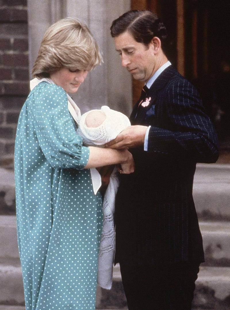 FILE - In this June 22, 1982, file photo, Britain's Prince Charles, Prince of Wales, and wife Princess Diana take home their newborn son Prince William, as they leave St. Mary's Hospital in London. It was announced  on Monday, July 22, 2013, in London that Kate, Duchess of Cambridge and her husband Prince William, the Duke of Cambridge, gave birth to a boy weighting 8lbs  6 oz.  (AP Photo/John Redman, File) *** Local Caption ***  Britain Royal Baby.JPEG-0f2b3.jpg