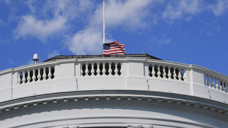 An image that illustrates this article Watch the White House lower its flags to half mast