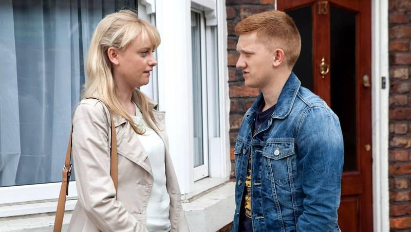 Still of a scene from Coronation Street, Britain's longest running soap opera. Katie McGlynn, as Sinead Tinker, and Sam Aston, as Chesney Brown. CREDIT: Granada Studios *** Local Caption ***  al14ma-Coronation-p3.JPG