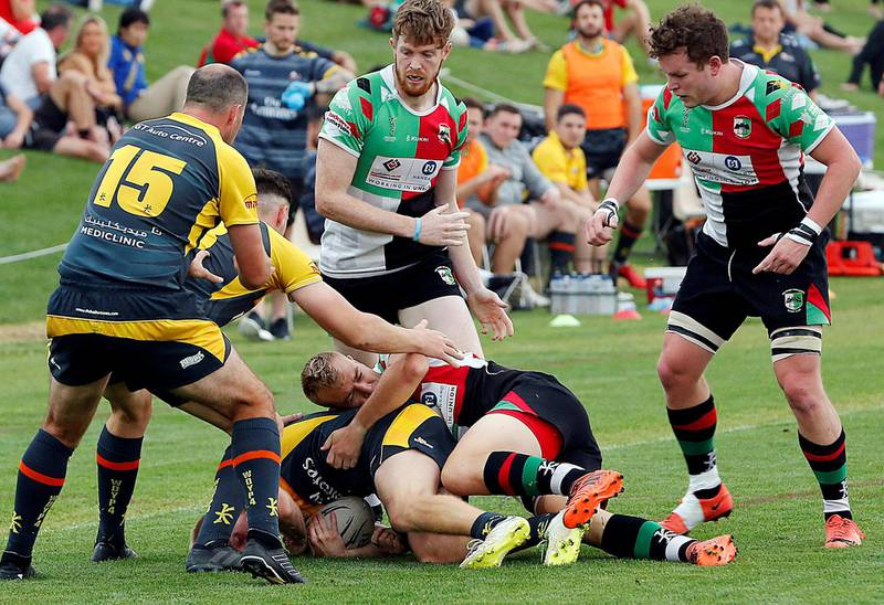 Abu Dhabi, March, 22, 2019: Abu Dhabi Harlequins v Dubai Hurricanes in action during the UAE Premiership semifinal at the Zayed Sports City in Abu Dhabi. Satish Kumar/ For the National / Story by Paul Radley